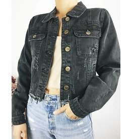 Cropped Denim Jacket with Decorative Rips at the Front And Raw Hem