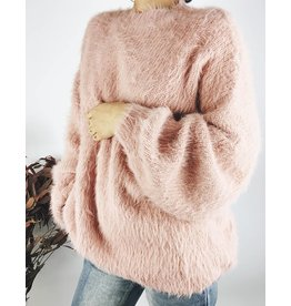 Fuzzy Oversized Sweater with Balloon sleeves - Apricot