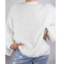 Fuzzy Oversized Sweater with Balloon sleeves - Ivory