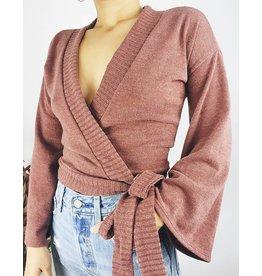 Wrap Top with Kimono Sleeves - Brick