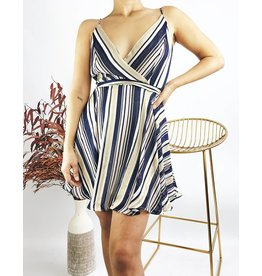 Striped Short Dress with Adjustable Straps