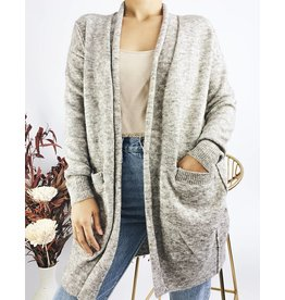Long Knit Cardigan with Front Pockets