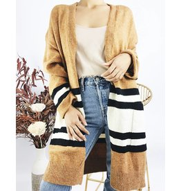 Long Cardigan with Striped Detail