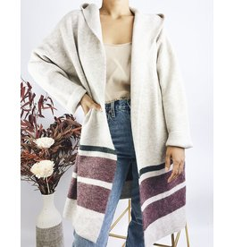 Long Hooded Cardigan - Beige