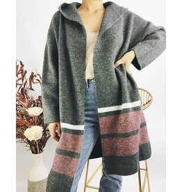Long Hooded Cardigan - Grey