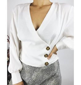 Satin Shirt with Balloons Sleeves - Ivory