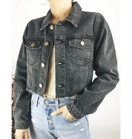 Veste en jean courte avec ourlet brut et déchirures à l'arrière
