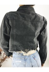 Cropped Denim Jacket with Raw Hem and Rips at the Back