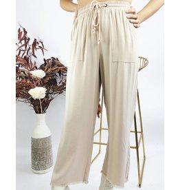 Lightweight Pants with Raw Hem - Taupe