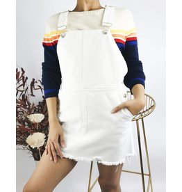 Denim Overall Dress - White