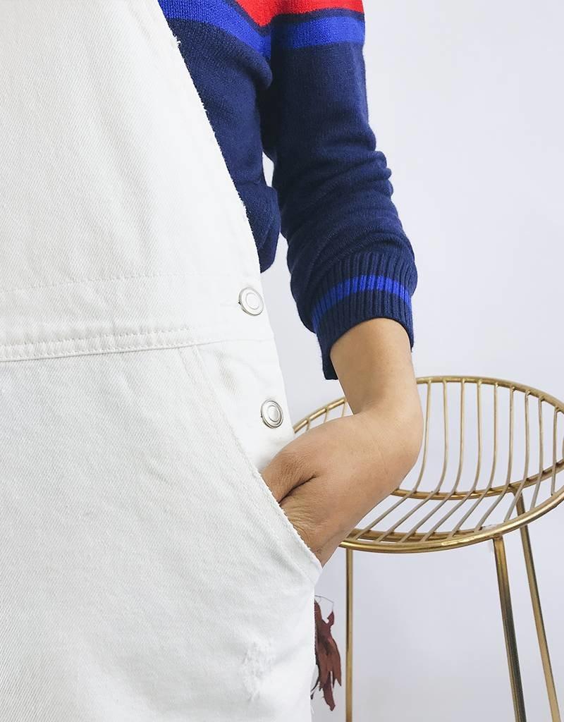 Robe salopette en jean - Blanc