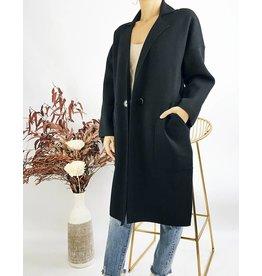 Lapel Long Sweater Coat
