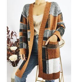 Long and Thick Plaid Cardigan