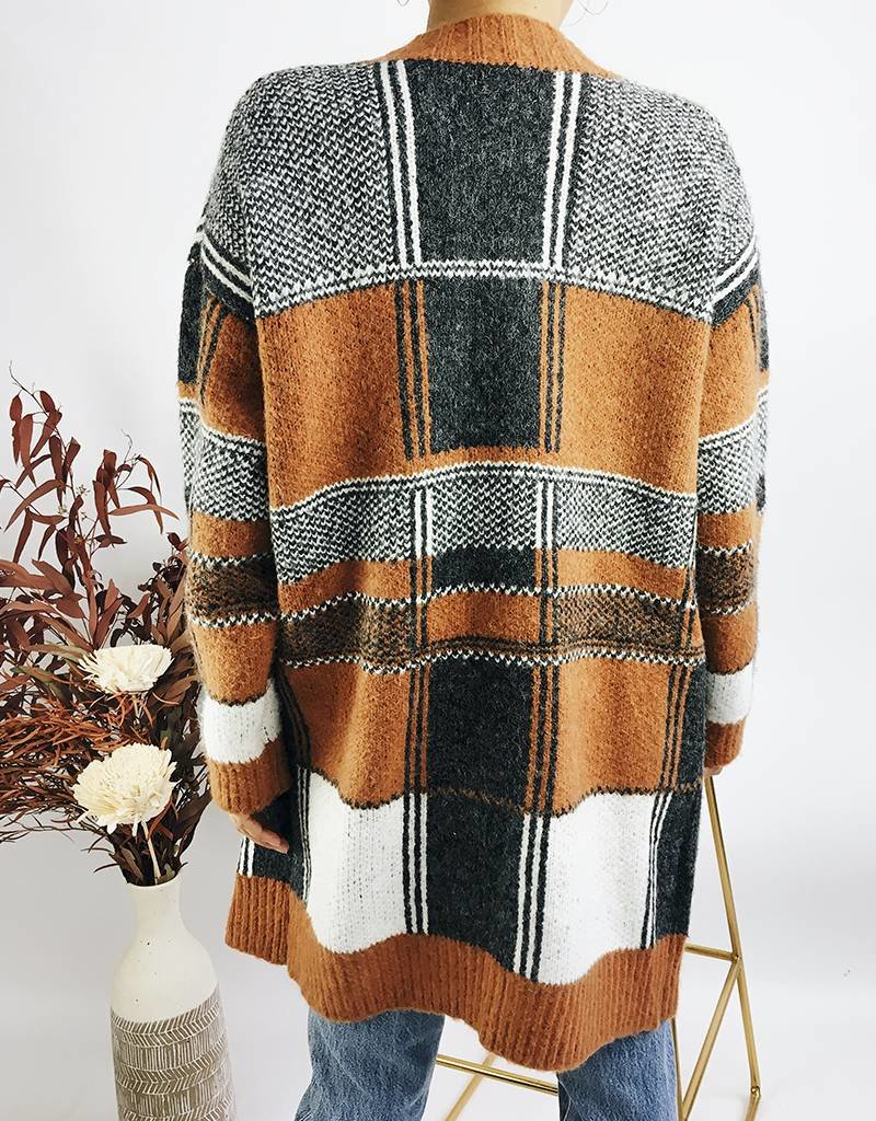 Cardigan long et épais à motif plaid
