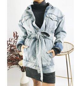 Oversized Denim Jacket with Belt