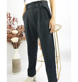 High Waisted Woven Pants with Belt