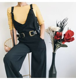 Striped Overall Style Jumpsuit