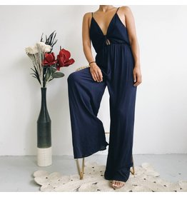 Fluid Wide Leg Jumpsuit - Navy
