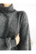 Robe pull en maille à col cheminé - Charbon