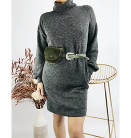 Knit Funnel Neck Dress - Charcoal