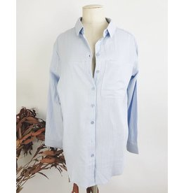Oversized Blue Shirt With Embroidery On The Back