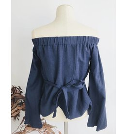 Off Shoulder Sleeves Top With Back Tie - Navy
