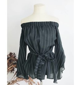 Off Shoulder Sleeves Top With Back Tie - Black/White
