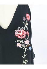 Débardeur col V profond imprimé floral à bretelles