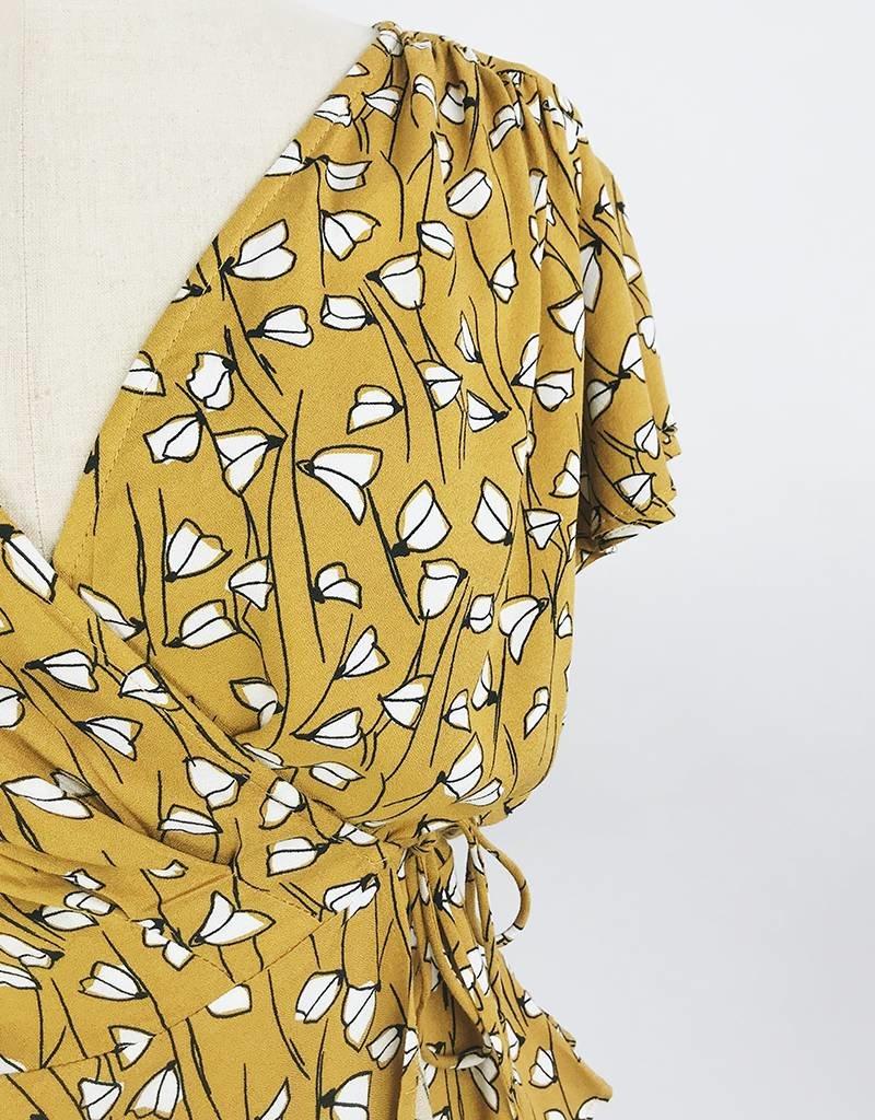 Haut style cache-coeur à imprimé floral