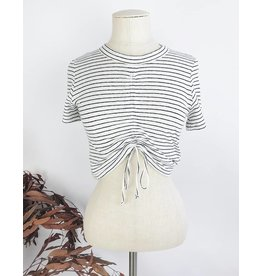 Stripped Cropped T-Shirt With Gathered Detail
