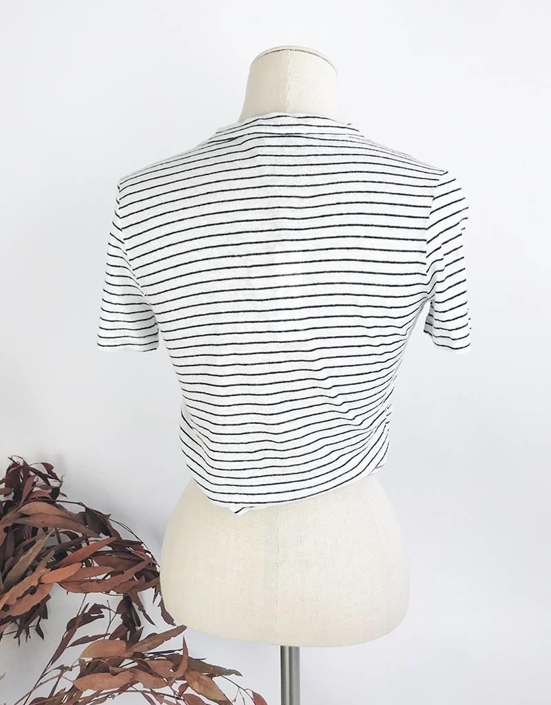 T-shirt court rayé avec détail froncé