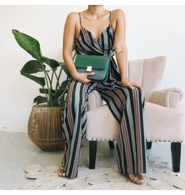 Striped Long Jumpsuit With Adjustable Straps - Green