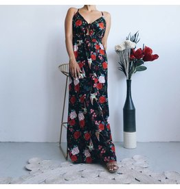 Oriental Printed  Deep V Neck Long Dress With Adjustable Straps