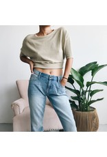 Cropped Ribbed Sweater With Bat Sleeves