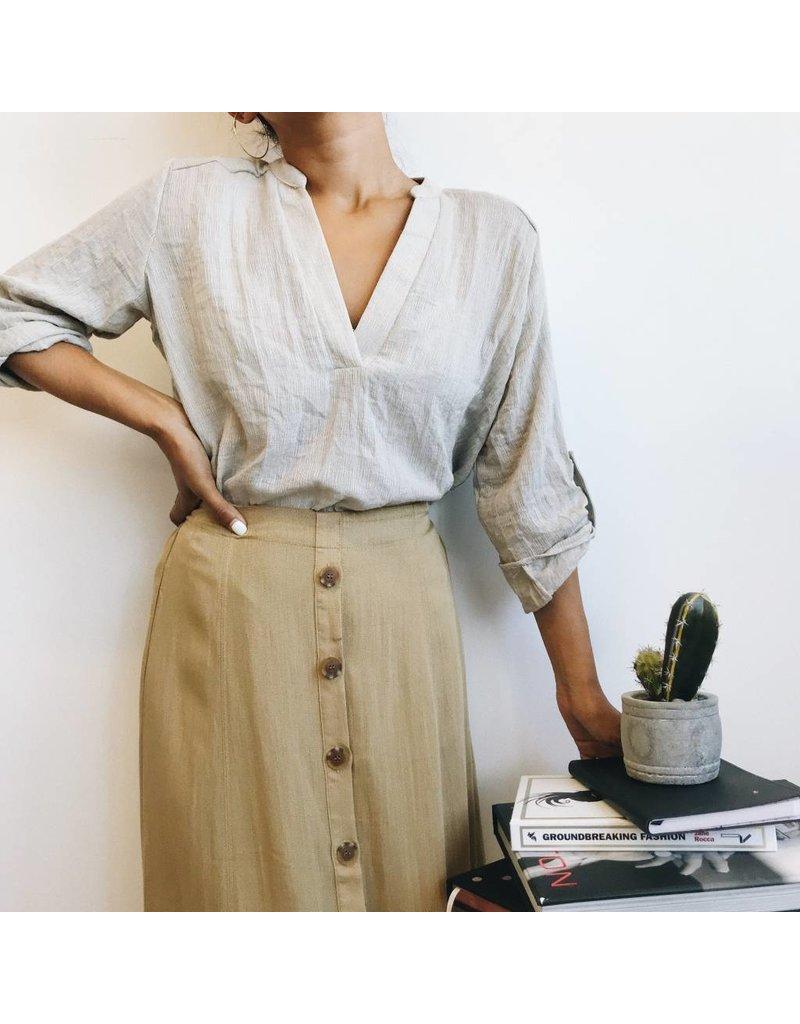 Button Down Lightweight Mid-Length Skirt