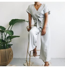 Textured Woven Wide Leg Jumpsuit With Belt
