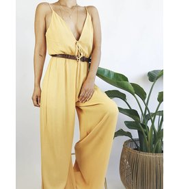 Fluid Wide Leg Jumpsuit - Mustard