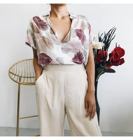 Oversized Printed Shirt with Front Tie