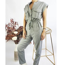 Short Sleeves Jumpsuit With Rope Belt - Olive