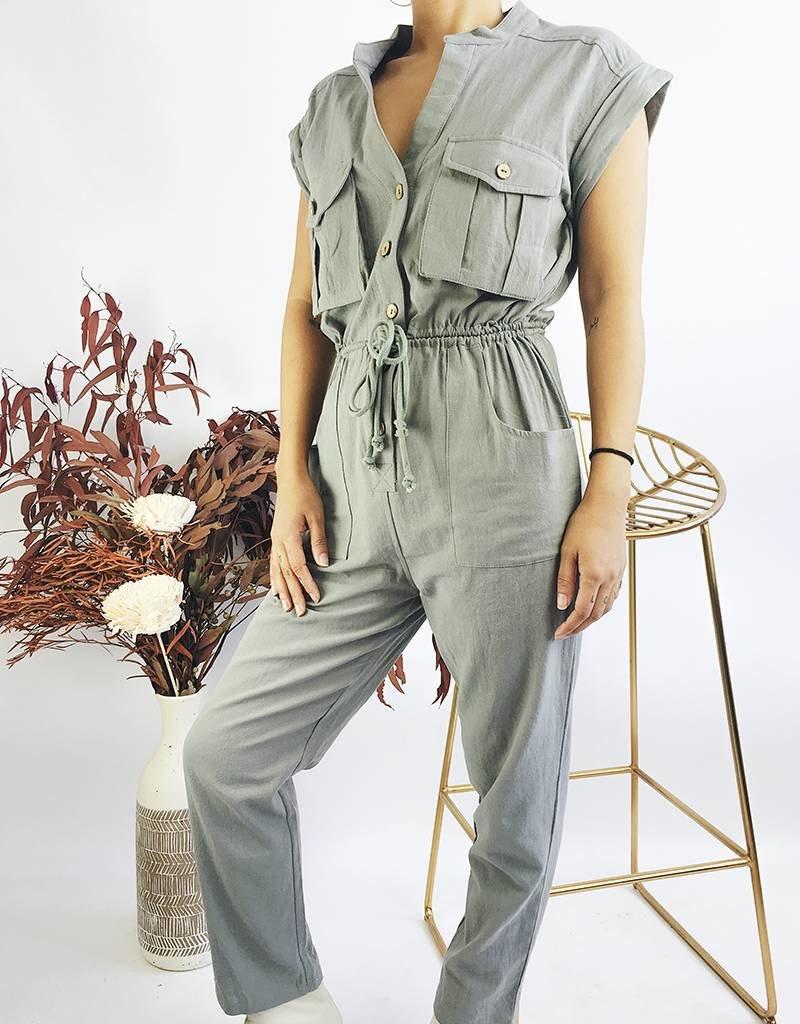 Combinaison à manches courtes avec ceinture corde - Olive