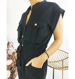 Short Sleeves Jumpsuit With Rope Belt - Black