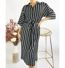 Striped Shirt Long Dress With Slits On Both Side