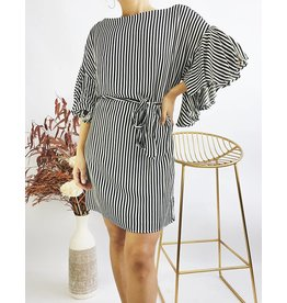 Striped Short Dress With Puffed Sleeves