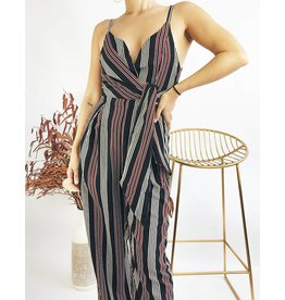 Striped Long Jumpsuit With Adjustable Straps - Black