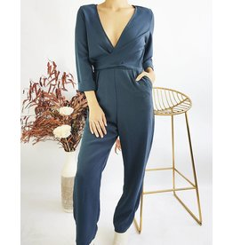 Long Sleeves Wrap Front Jumpsuit