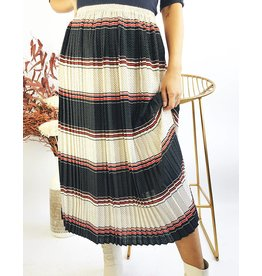 Striped and Polka Dot Mid-Length Pleated Skirt