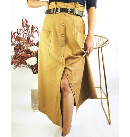 Vintage Style Mid-Length Button Down Skirt