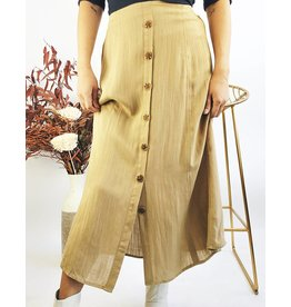Button Down Lightweight Mid-Length Skirt