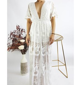 Embroidered Long Dress With Plunging Neckline