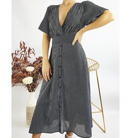 Striped Mid-Length Dress With Open Back